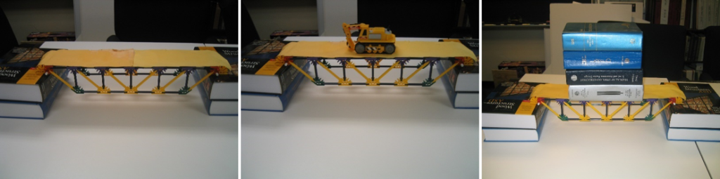 K'NEX bridge model 2 supported (left), lightly loaded (middle), and heavily loaded (right).