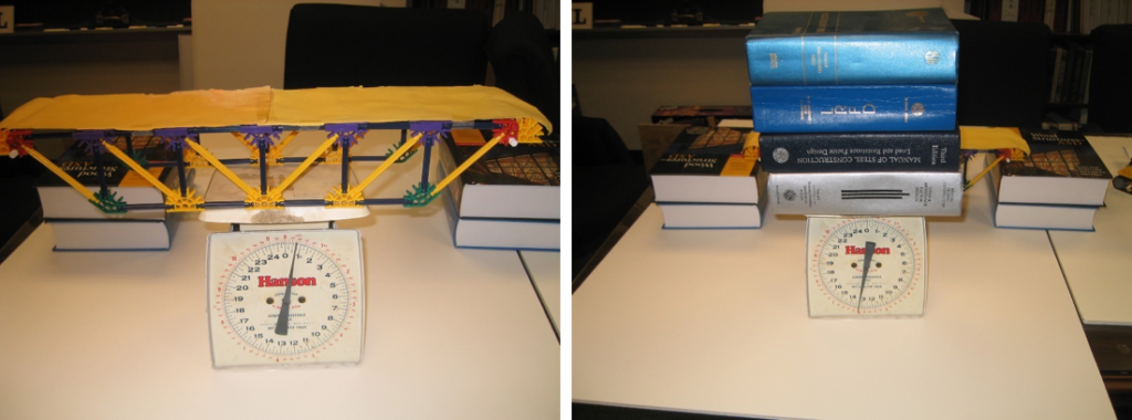 Using a scale to weight the bridge (left) and the textbooks (right).